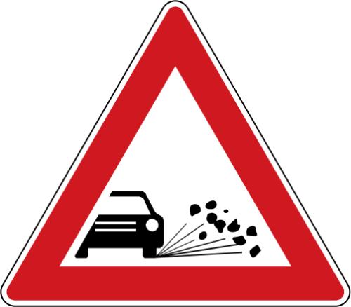 Dopravní značka: A 17 Odlétávající štěrk