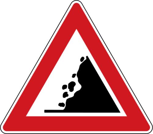 Dopravní značka: A 18 Kamení na vozovce