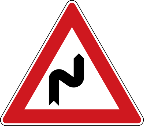 Dopravní značka: A 2a Dvojitá zatáčka, první vpravo