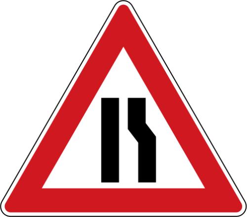 Dopravní značka: A 6b Zúžená vozovka (z jedné strany)