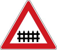 Dopravní značka: A 29 Železniční přejezd se závorami