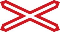 Dopravní značka: A 32a Výstražný kříž pro železniční přejezd jednokolejný