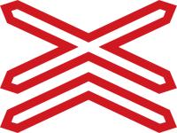 Dopravní značka: A 32b Výstražný kříž pro železniční přejezd vícekolejný
