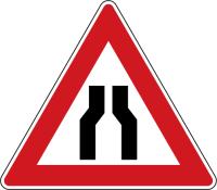 Dopravní značka: A 6a Zúžená vozovka (z obou stran)