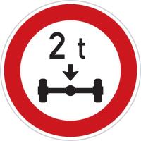 Dopravní značka: B 14 Zákaz vjezdu vozidel, jejichž okamžitá hmotnost připadající na nápravu přesahuje vyznačenou mez