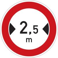 Dopravní značka: B 15 Zákaz vjezdu vozidel, jejichž šířka přesahuje vyznačenou mez