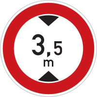 Dopravní značka: B 16 Zákaz vjezdu vozidel, jejichž výška přesahuje vyznačenou mez