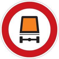 Dopravní značka: B 18 Zákaz vjezdu vozidel přepravujících nebezpečný náklad