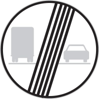 Dopravní značka: B 22b Konec zákazu předjíždění pro nákladní automobily