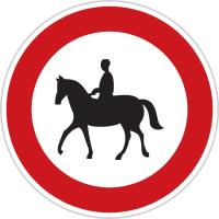 Dopravní značka: B 31 Zákaz vjezdu pro jezdce na zvířeti