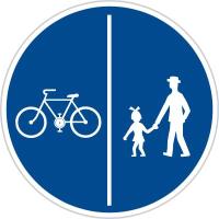 Dopravní značka: C 10a Stezka pro chodce a cyklisty dělená