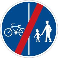 Dopravní značka: C 10b Konec stezky pro chodce a cyklisty dělené