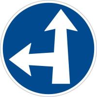 Dopravní značka: C 2e Přikázaný směr jízdy přímo a vlevo