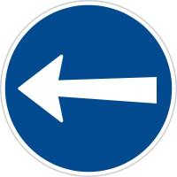 Dopravní značka: C 3b Přikázaný směr jízdy zde vlevo