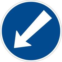 Dopravní značka: C 4b Přikázaný směr objíždění vlevo