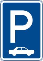 Dopravní značka: IP 11b Parkoviště (kolmé nebo šikmé stání)
