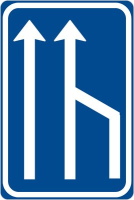 Dopravní značka: IP 18b Snížení počtu jízdních pruhů