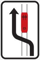 Dopravní značka: IP 23b Objíždění tramvaje (jízda podél tramvaje vlevo)