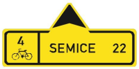 Dopravní značka: IS 19a Směrová tabule pro cyklisty (přímo)