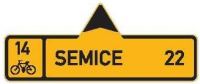 Dopravní značka: IS 19a Směrová tabule pro cyklisty (s jedním cílem)