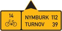 Dopravní značka: IS 19b Směrová tabule pro cyklisty (s dvěma cíli)