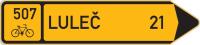 Dopravní značka: IS 19c Směrová tabule pro cyklisty (s jedním cílem)