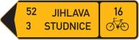 Dopravní značka: IS 19d Směrová tabule pro cyklisty (s dvěma cíli)