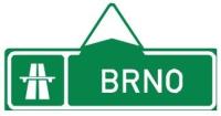 Dopravní značka: IS 1a Směrová tabule pro příjezd k dálnici (přímo)