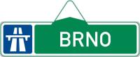 Dopravní značka: IS 1a Směrová tabule pro příjezd k dálnici (s jedním cílem)