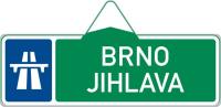 Dopravní značka: IS 1b Směrová tabule pro příjezd k dálnici (s dvěma cíli)