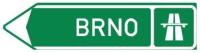 Dopravní značka: IS 1b Směrová tabule pro příjezd k dálnici (vlevo)