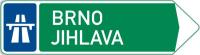 Dopravní značka: IS 1d Směrová tabule pro příjezd k dálnici (se dvěma cíli)