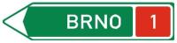 Dopravní značka: IS 1e Směrová tabule před nájezdem na dálnici (vlevo)