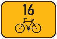 Dopravní značka: IS 21a Směrová tabulka pro cyklisty