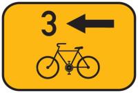 Dopravní značka: IS 21b Směrová tabulka pro cyklisty