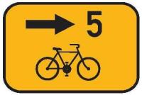 Dopravní značka: IS 21c Směrová tabulka pro cyklisty