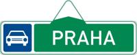 Dopravní značka: IS 2a Směrová tabule pro příjezd k silnici pro motorová vozidla (s jedním cílem).
