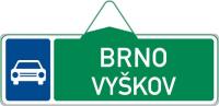 Dopravní značka: IS 2b Směrová tabule pro příjezd k silnici pro motorová vozidla (s dvěma cíli)