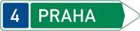 Dopravní značka: IS 2c Směrová tabule pro příjezd k silnici pro motorová vozidla (s jedním cílem)