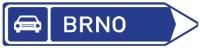Dopravní značka: IS 2c Směrová tabule pro příjezd k silnici pro motorová vozidla (vpravo)