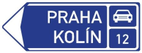 Dopravní značka: IS 2e Směrová tabule před nájezdem na silnici pro motorová vozidla (vlevo)
