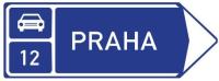 Dopravní značka: IS 2f Směrová tabule před nájezdem na silnici pro motorová vozidla (vpravo)