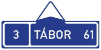Dopravní značka: IS 3a Směrová tabule s cílem (přímo)