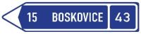 Dopravní značka: IS 3b Směrová tabule s cílem (vlevo)