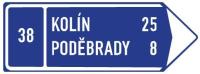 Dopravní značka: IS 3c Směrová tabule s cílem (vpravo)
