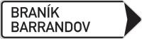 Dopravní značka: IS 4d Směrová tabule (s dvěma místními cíli)