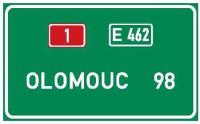 Dopravní značka: IS 8b Dálková návěst se vzdálenostmi
