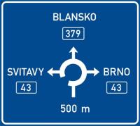 Dopravní značka: IS 9b Návěst před okružní křižovatkou