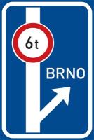Dopravní značka: IS 9c Návěst před křižovatkou s omezením