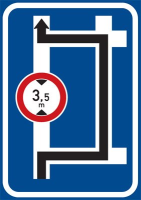 Dopravní značka: IS 9d Návěst před křižovatkou s omezením